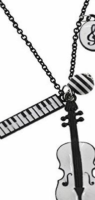 Violin and Keyboard Chain Necklace, Black Chain Necklace, Musical Necklace