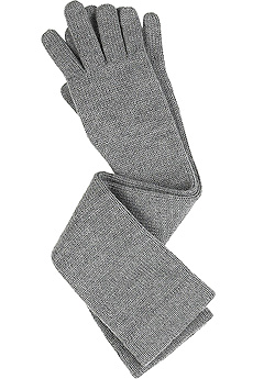 Gray elbow length merino gloves.