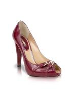 Mario Bologna Plum Patent Leather Platform Pump Shoes product image