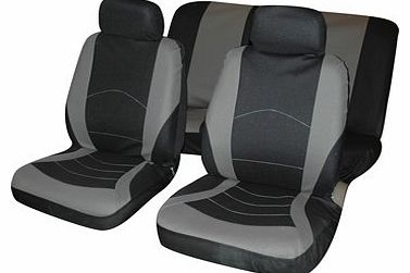 6PC Universal Car Seat Covers Set Vehicle Cover Protector Black & Gray Grey