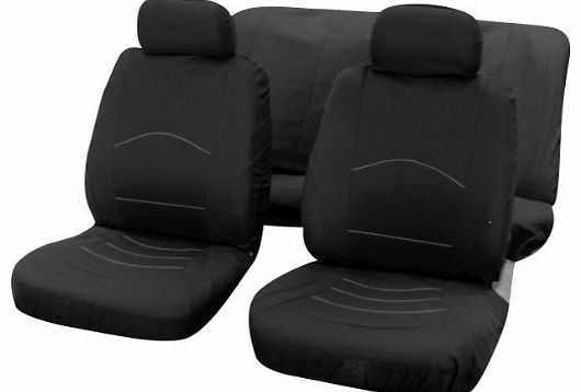 6PC Universal Car Van Truck Seat Covers Set Vehicle Cover Spills Protector Black