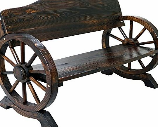 Marko Outdoor Solid Wood Cart Wagon Wheel Garden Bench Patio Burnt Stained Outdoor Furniture