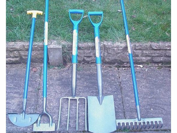 Marksman set of 5 gardening tools shovel fork rake hoe for Gardening tools description