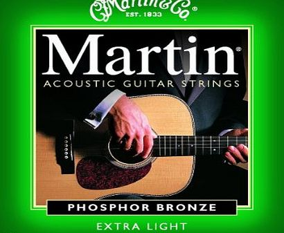 Martin 92/8 Acoustic Guitar Strings - Phosphor Bronze Wound Extra (Light, .010 - .047)