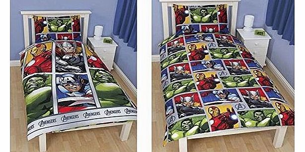 Marvel Avengers Assemble Reversible Duvet Single Bed Set Duvet Cover and Pillow Case
