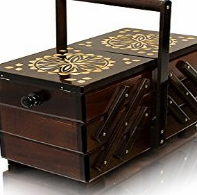 Master of Trading Dark Decorated 36cm / 14.1in SEWING / JEWELLERY BOX Decoupage Hand Crafted Wooden Container