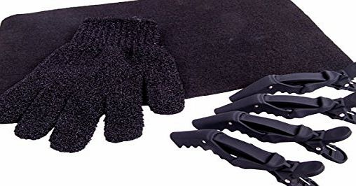 mateque Heat Protection Glove, Black Heat proof Mat amp; 4 x Cloud 9 Clips For use with GHD amp; Cloud 9