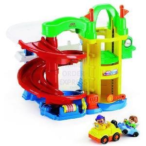 Fisher price world little people family train mattel - Fisher price little people racin ramps garage ...