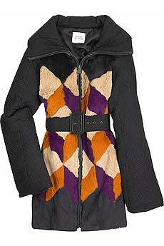Multi-colored lapin and silk blend jacket with padded long contrast sleeves. - CLICK FOR MORE INFORMATION