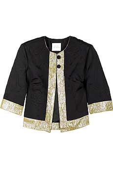 Black silk quilted cropped jacket with a contrast shine trim. - CLICK FOR MORE INFORMATION