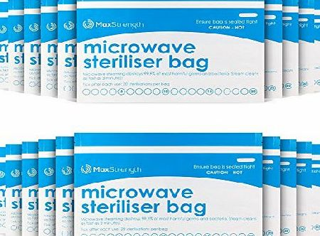 Max Strength Microwave Steriliser Bags Premium 10pc Pack by Max Strength, Large amp; Durable Steam Bags for Baby Bottles, Soothers, Teethers amp; Training Cups, 20 Uses Per Bag, Marking System, Chemical Free am