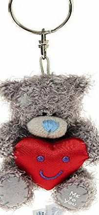 Me To You 3-inch Tatty Teddy Bear Keyring Holding a Heart (Grey)