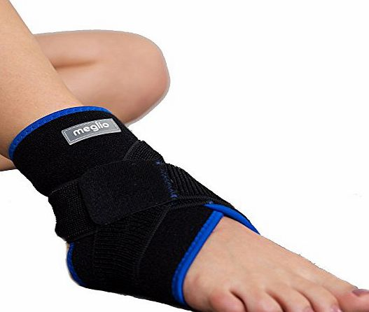 Meglio Neoprene Ankle Support - With Breathable Design - Supports during Sport amp; Running - Acts as a Brace Ligament Damage amp; Achilles Weakness - One Size Fits All
