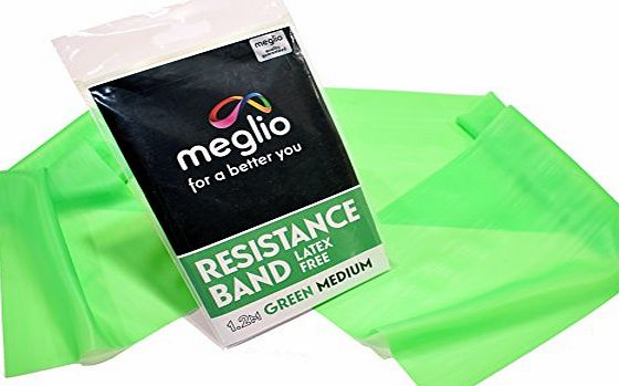 Meglio Resistance Band for Mobility Strength amp; Rehab Premium Quality Latex Free 1.2m Green (Medium)