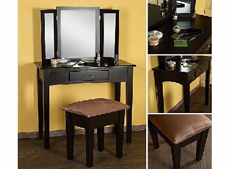Make-up table + stool + mirror dressing table dressing console brown