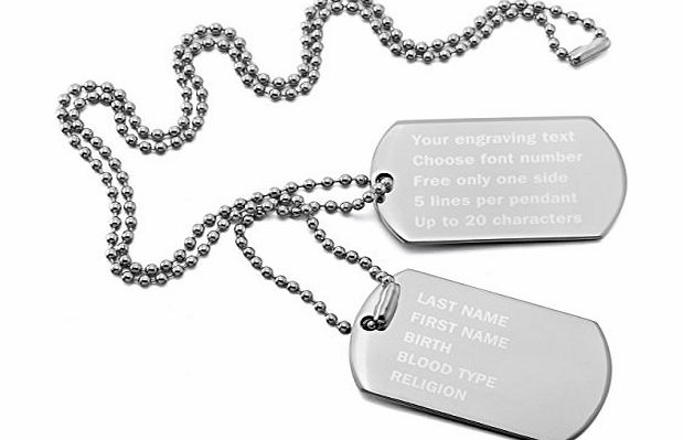 MeMeDIY Silver Stainless Steel Pendant Necklace Double Dog Tag 23 Inch Chain ,come with Chain - Customized Engraving