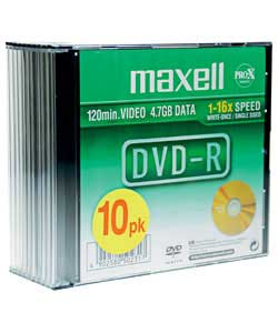 memorex DVD-R - Pack of 10 in Slimline Jewel Cases product image