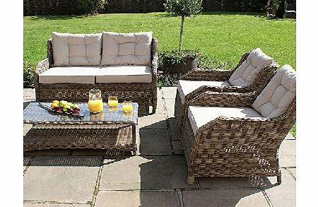 memphis maze rattan garden high back sofa set furniture