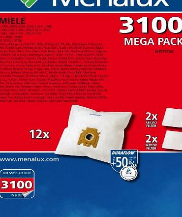 Menalux 3100 MP 12 x Vacuum Cleaner Bags with 2 Micro Filters