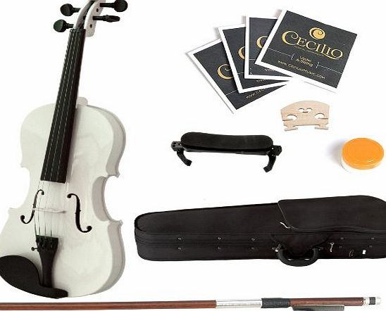 4/4MV-White+SR Size 4/4 Acoustic Violin - White