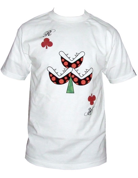 Mens Clothing Wrongwroks Flowers Playing Card White T-Shirt