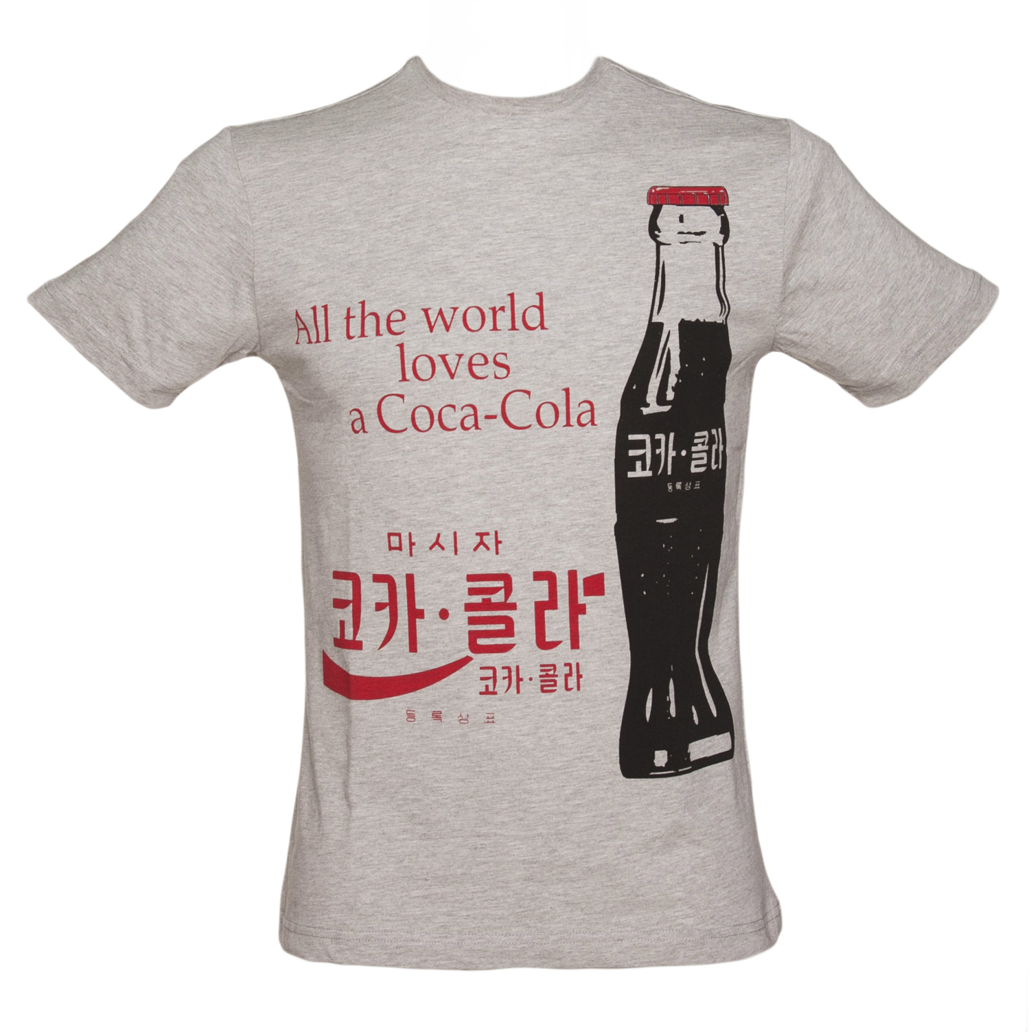 Mens Pale Grey Korean Coca-Cola Logo T-Shirt product image