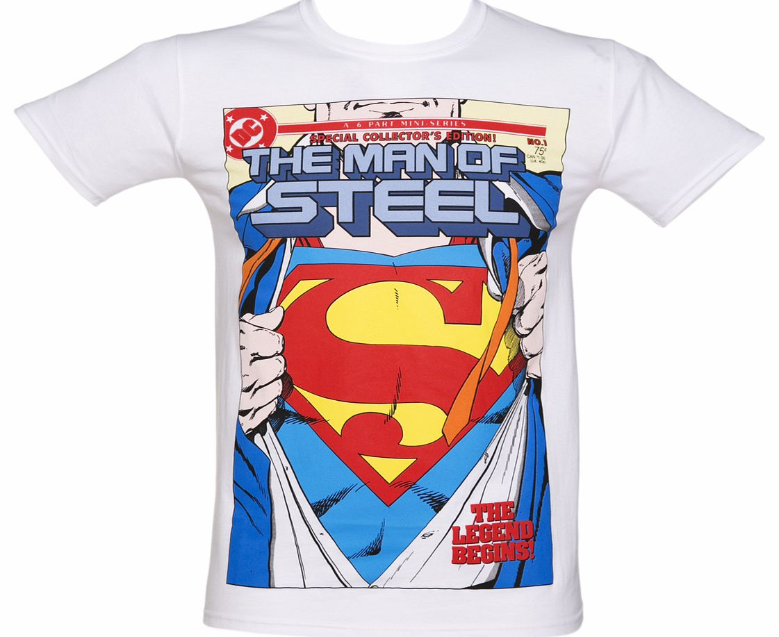 Mens White DC Comics Superman Ripped Shirt Man product image