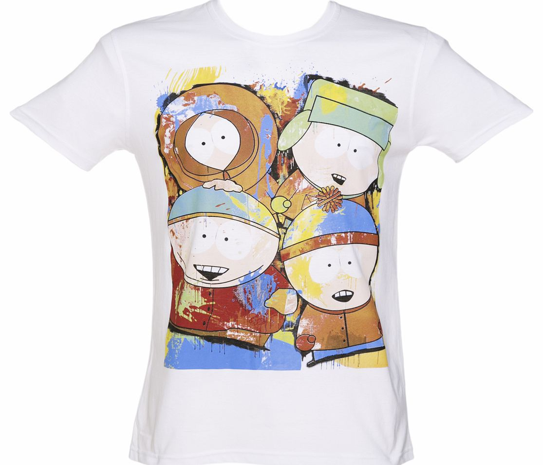 Mens White South Park Characters T-Shirt product image