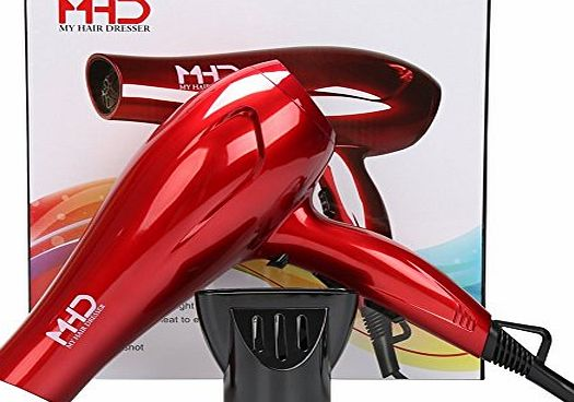 MHD Professional Ionic Hair Dryer 2 Speed 3 Heat Cool Button 1.8 cable UK Plug