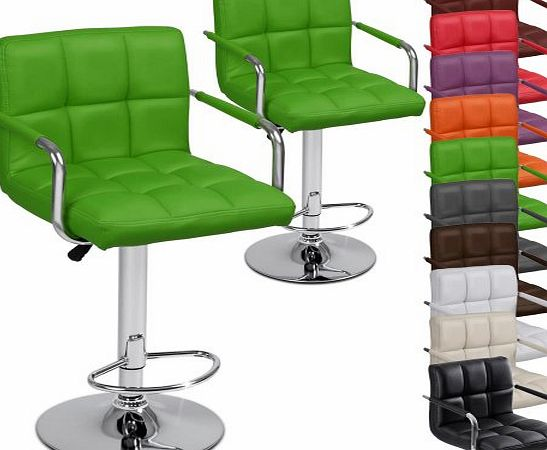LBHK03 Two Faux Leather Bar Stools with Armrest DIFFERENT COLOURS (Green)