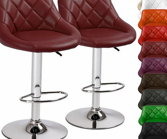 LBHK04 2 Height-Adjustable Faux Leather Bar Stools DIFFERENT COLOURS (Bordeaux)