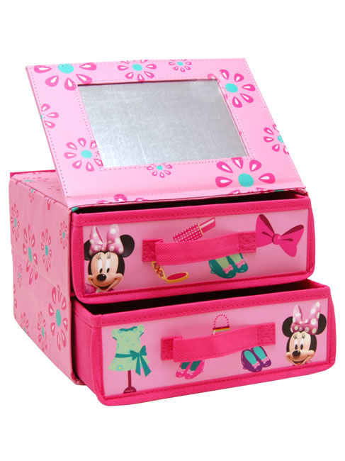 Storage mickey and minnie mouse minnie mouse two drawer for Minnie mouse jewelry box