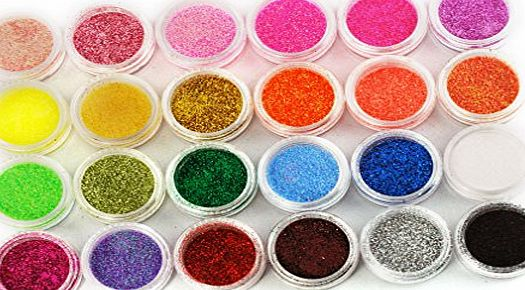 Micro Trader 24 COLOURS NAIL ART Glitter Dust Powder UV Nail Gel Acrylic Nail Decoration New