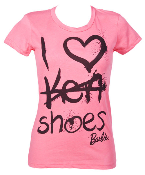 mighty fine i heart shoes ladies barbie t shirt from. Black Bedroom Furniture Sets. Home Design Ideas