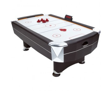 Stylish full-size 7ft x 4ft air hockey table beautifully finished in matt black with chrome effect c - CLICK FOR MORE INFORMATION