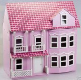 Pink Victorian Wooden Dolls House with Furnitures and Dolls