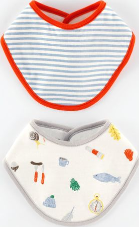 Mini Boden, 1669[^]35091776 2 Pack Dribble Bibs Baby Camping/Blue Stripe