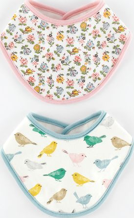 Mini Boden, 1669[^]35091784 2 Pack Dribble Bibs Birds/Snowdrop Sprig Mini