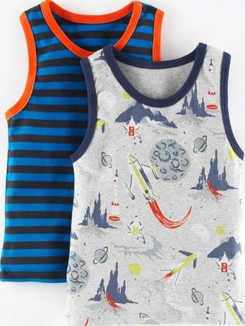 Mini Boden, 1669[^]35023837 2 Pack Vests Rockets Pack Mini Boden, Rockets