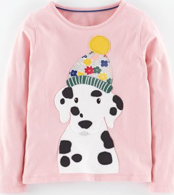 Mini Boden, 1669[^]34968156 Big Appliqué T-shirt Blush Dalmatian Mini