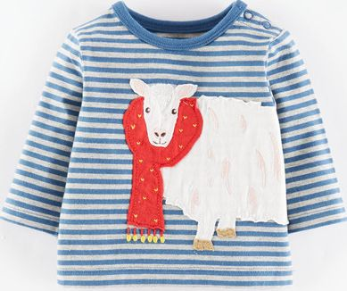 Mini Boden, 1669[^]34987024 Big Appliqué T-shirt Coastal Blue/Sheep Mini