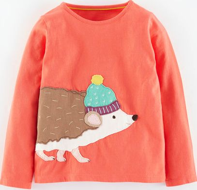 Mini Boden, 1669[^]35124049 Big Appliqué T-shirt Washed Red Hedgehog Mini
