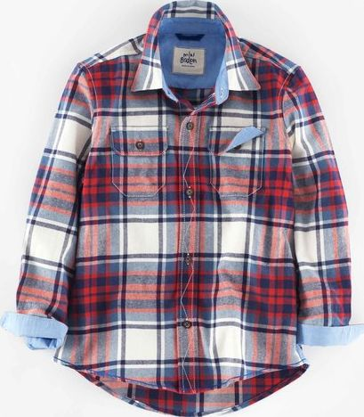 Mini Boden, 1669[^]34933945 Brushed Check Shirt Navy/Red Check Mini Boden,