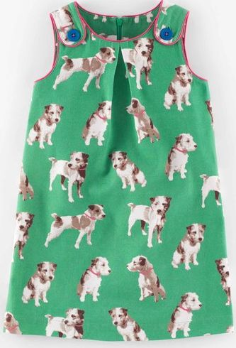 Mini Boden, 1669[^]34989749 Button Pinafore Dress Green Photographic Dogs