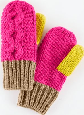 Mini Boden, 1669[^]34950543 Cable Mittens Camel/Sweetheart Pink Mini Boden,