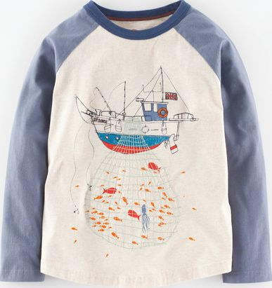 Mini Boden, 1669[^]35217348 Catch of the Day T-shirt Oatmeal Marl/Fishing