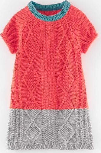 Mini Boden, 1669[^]35133289 Cosy Cable Knitted Dress Washed Red Mini Boden,