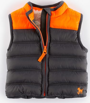 Mini Boden, 1669[^]35014752 Cosy Padded Gilet Graphite/Orange Mini Boden,