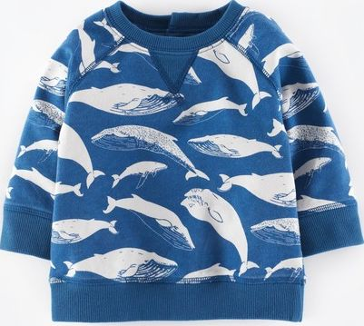 Mini Boden, 1669[^]34956698 Cosy Printed Sweatshirt Marine Blue Whale Mini
