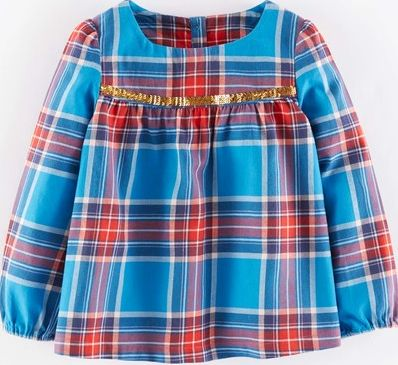 Mini Boden, 1669[^]35156843 Cosy Sequin Top Peacock Blue Tartan Mini Boden,